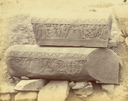 Sculpture pieces excavated from the Stupa at Bharhut: lengths of coping from the southern gateway